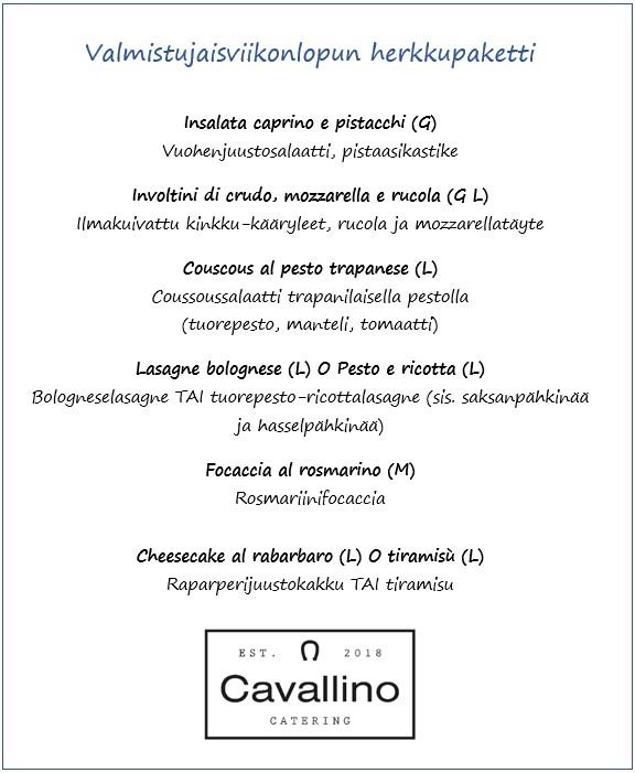 Valmistujaisviikonlopun menu